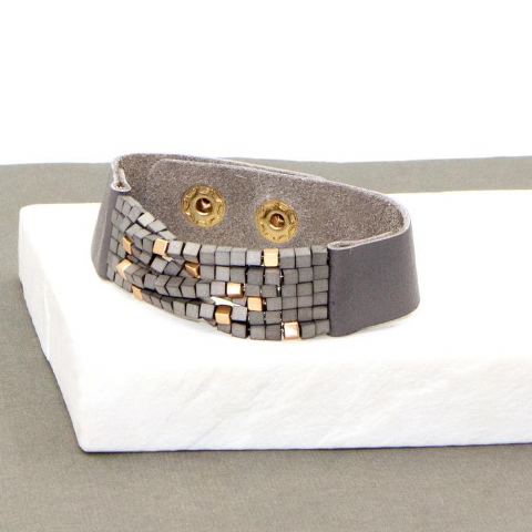 GREY AND ROSE GOLD BEADED LEATHER BRACELET